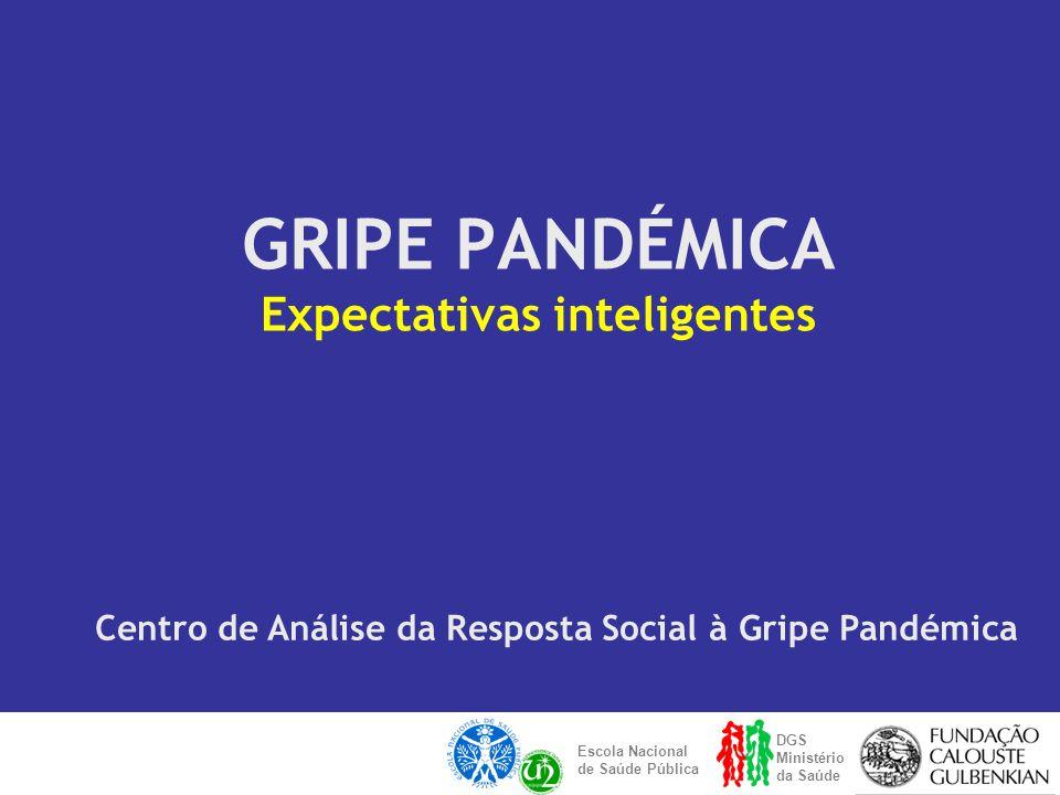 GRIPE PANDÉMICA Expectativas inteligentes DGS Ministério da Saúde Escola Nacional de Saúde Pública Centro de Análise da Resposta Social à Gripe Pandémica