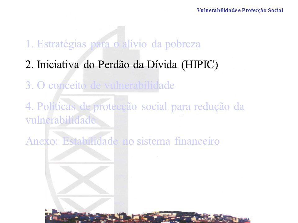 1.Estratégias para o alívio da pobreza 2. Iniciativa do Perdão da Dívida (HIPIC) 3.