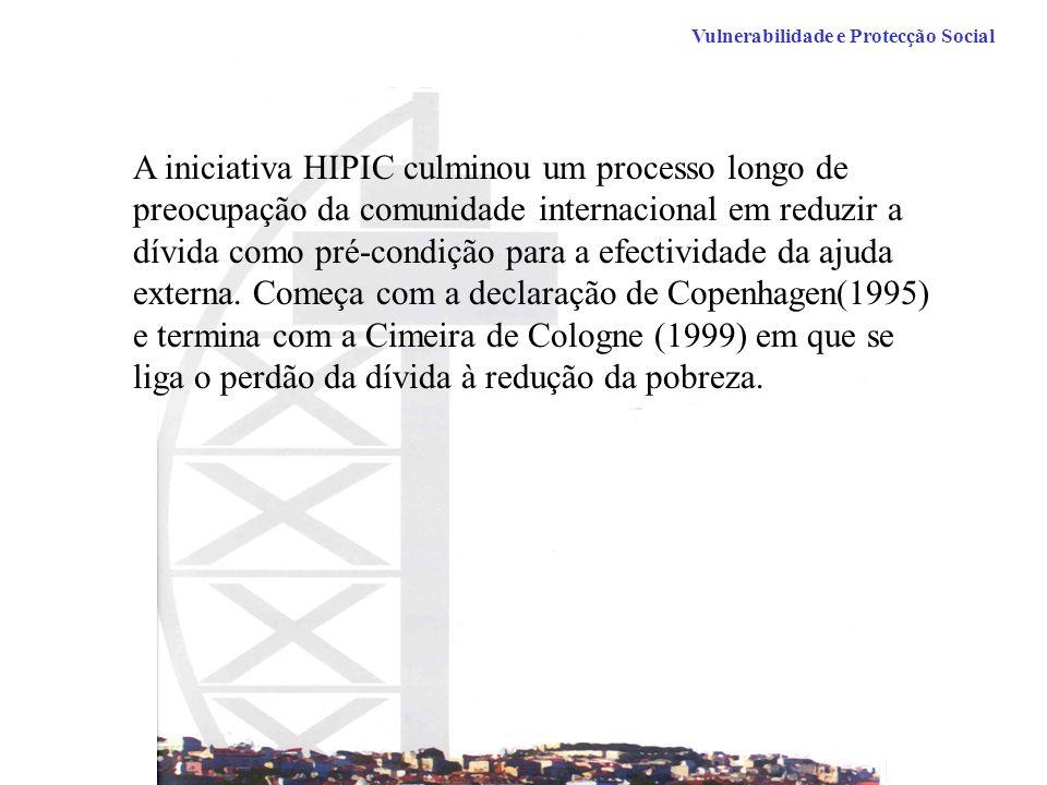 Vulnerabilidade e Protecção Social A iniciativa HIPIC culminou um processo longo de preocupação da comunidade internacional em reduzir a dívida como pré-condição para a efectividade da ajuda externa.