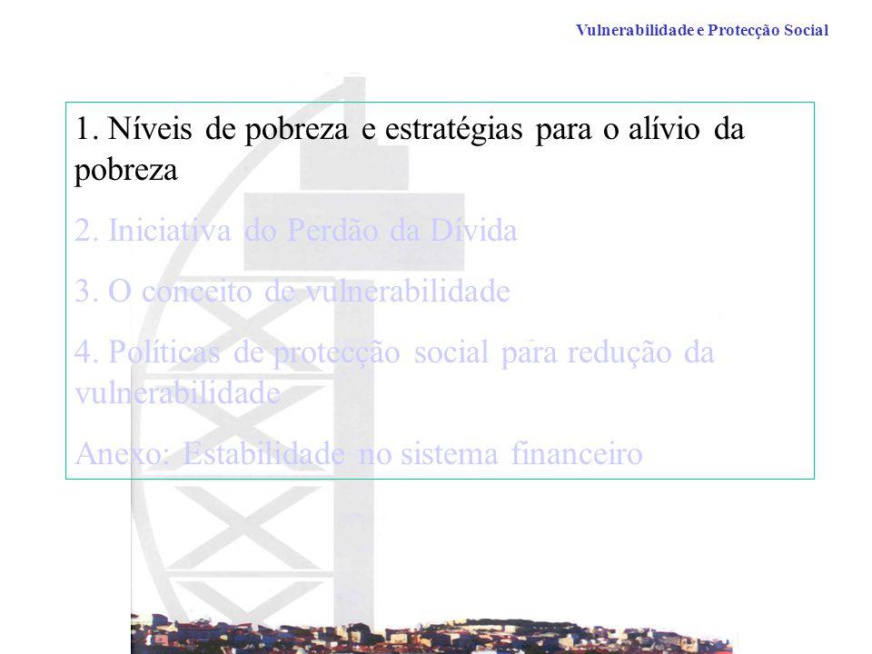 Vulnerabilidade e Protecção Social 1.Níveis de pobreza e estratégias para o alívio da pobreza 2.