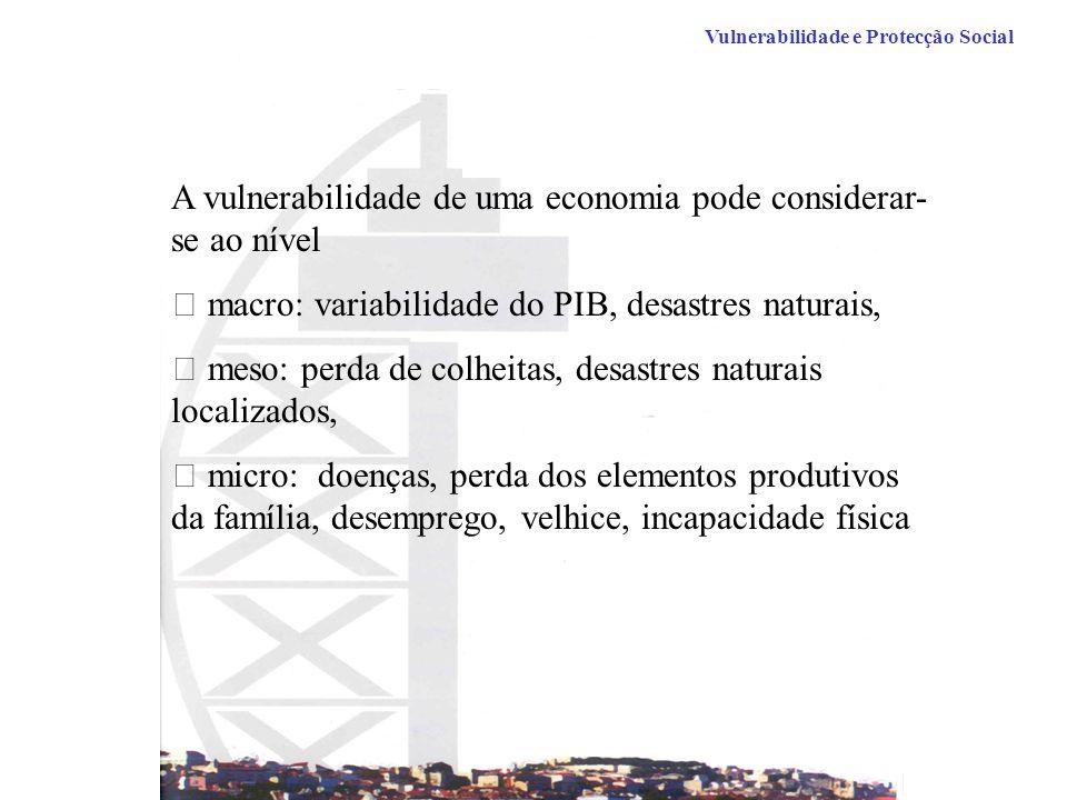 Vulnerabilidade e Protecção Social A vulnerabilidade de uma economia pode considerar- se ao nível  macro: variabilidade do PIB, desastres naturais,  meso: perda de colheitas, desastres naturais localizados,  micro: doenças, perda dos elementos produtivos da família, desemprego, velhice, incapacidade física