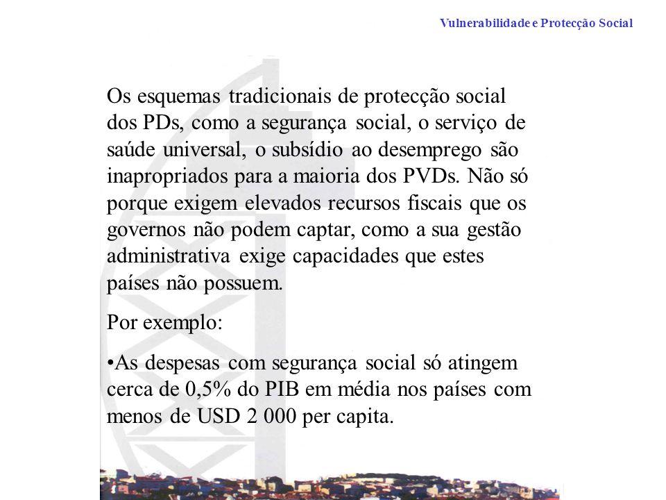 Vulnerabilidade e Protecção Social Os esquemas tradicionais de protecção social dos PDs, como a segurança social, o serviço de saúde universal, o subsídio ao desemprego são inapropriados para a maioria dos PVDs.