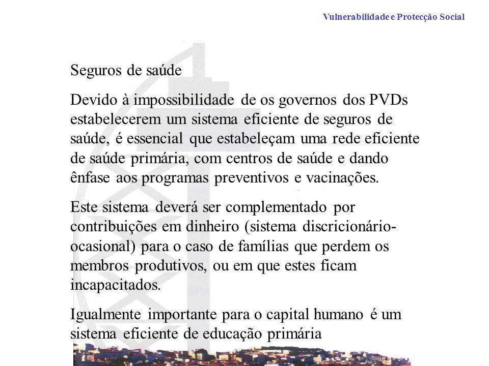 Seguros de saúde Devido à impossibilidade de os governos dos PVDs estabelecerem um sistema eficiente de seguros de saúde, é essencial que estabeleçam uma rede eficiente de saúde primária, com centros de saúde e dando ênfase aos programas preventivos e vacinações.