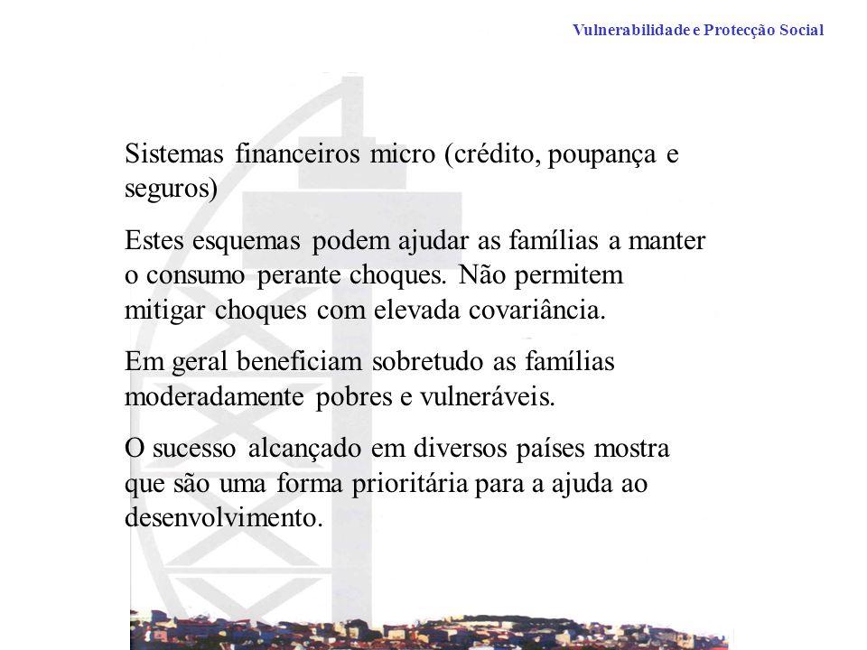 Vulnerabilidade e Protecção Social Sistemas financeiros micro (crédito, poupança e seguros) Estes esquemas podem ajudar as famílias a manter o consumo perante choques.