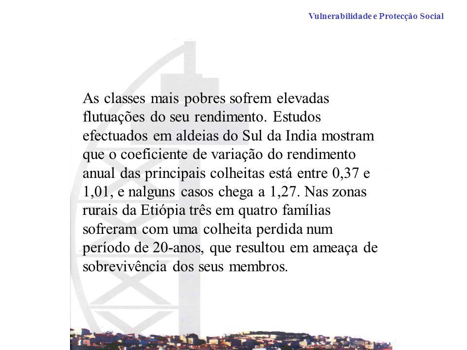 Vulnerabilidade e Protecção Social As classes mais pobres sofrem elevadas flutuações do seu rendimento.
