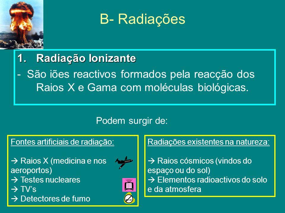 B- Radiações 1.Radiação Ionizante - São iões reactivos formados pela reacção dos Raios X e Gama com moléculas biológicas.