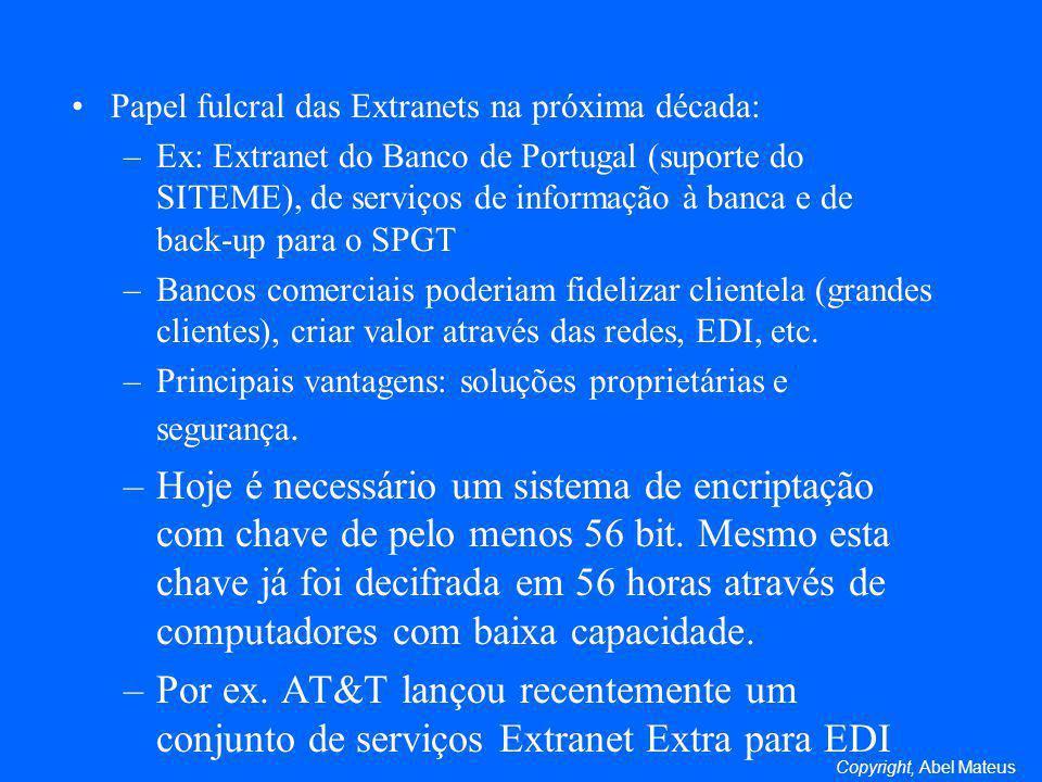Papel fulcral das Extranets na próxima década: –Ex: Extranet do Banco de Portugal (suporte do SITEME), de serviços de informação à banca e de back-up