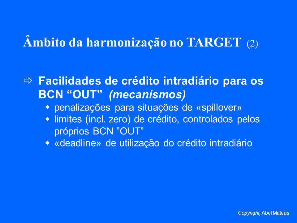 Âmbito da harmonização no TARGET (2) Facilidades de crédito intradiário para os BCN OUT (mecanismos) penalizações para situações de «spillover» limites (incl.