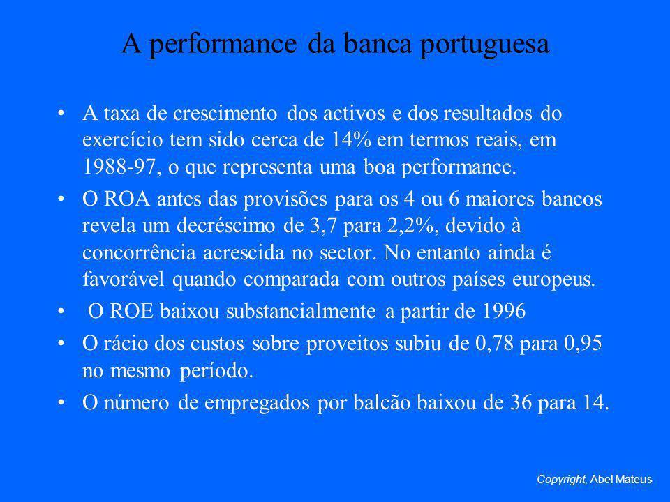 A performance da banca portuguesa A taxa de crescimento dos activos e dos resultados do exercício tem sido cerca de 14% em termos reais, em 1988-97, o