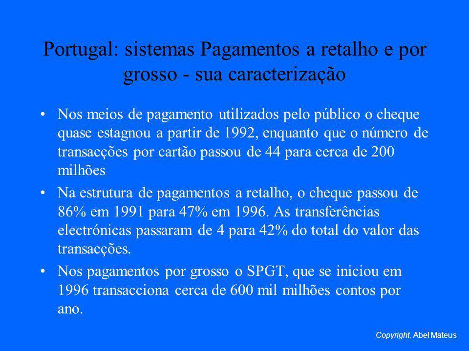 Portugal: sistemas Pagamentos a retalho e por grosso - sua caracterização Nos meios de pagamento utilizados pelo público o cheque quase estagnou a partir de 1992, enquanto que o número de transacções por cartão passou de 44 para cerca de 200 milhões Na estrutura de pagamentos a retalho, o cheque passou de 86% em 1991 para 47% em 1996.