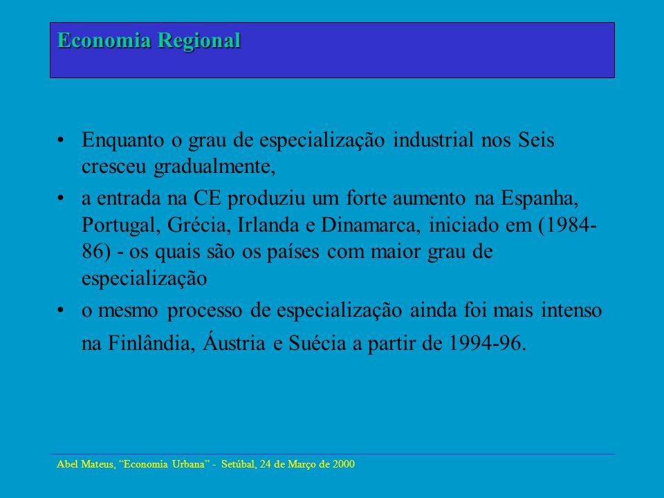 Abel Mateus, Economia Urbana - Setúbal, 24 de Março de 2000 Economia Urbana Enquanto o grau de especialização industrial nos Seis cresceu gradualmente