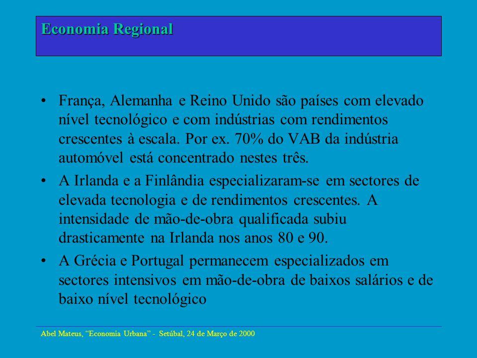 Abel Mateus, Economia Urbana - Setúbal, 24 de Março de 2000 Economia Urbana França, Alemanha e Reino Unido são países com elevado nível tecnológico e