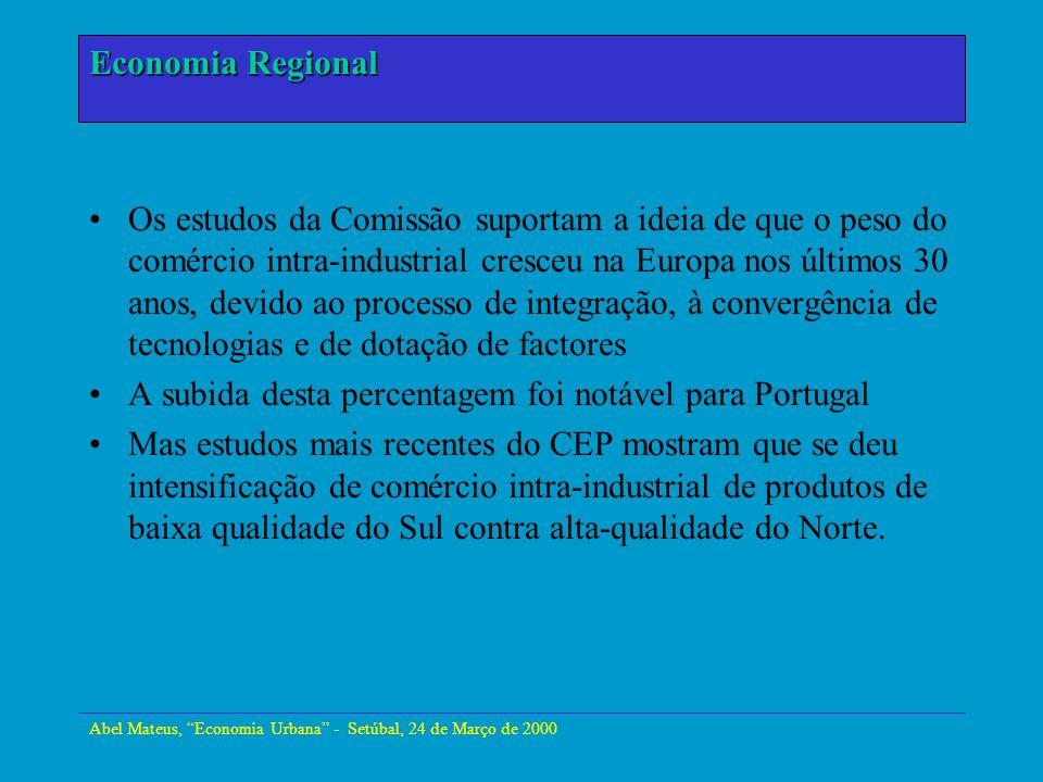 Abel Mateus, Economia Urbana - Setúbal, 24 de Março de 2000 Economia Urbana Os estudos da Comissão suportam a ideia de que o peso do comércio intra-in