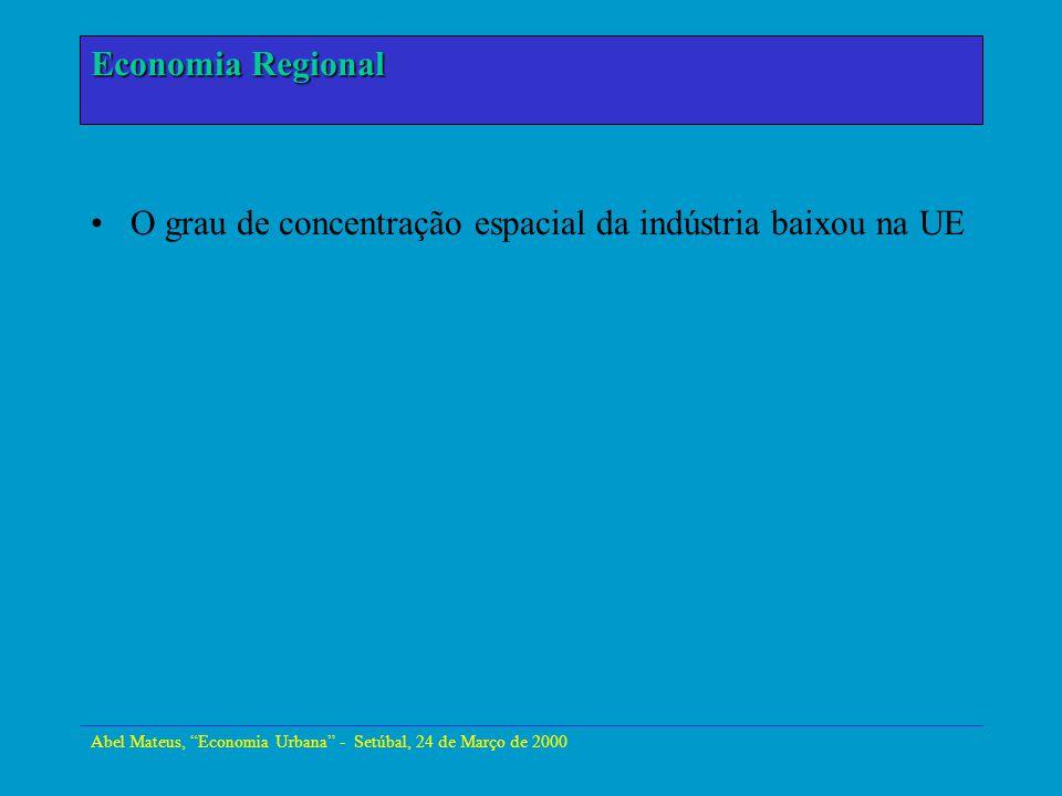 Abel Mateus, Economia Urbana - Setúbal, 24 de Março de 2000 Economia Urbana O grau de concentração espacial da indústria baixou na UE Economia Regiona