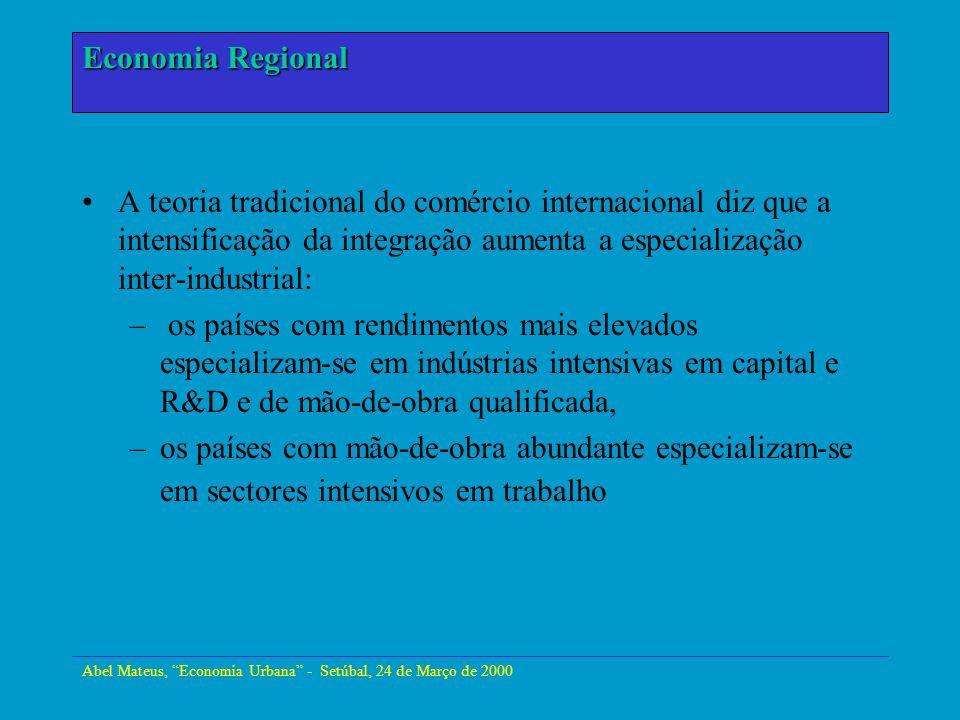 Abel Mateus, Economia Urbana - Setúbal, 24 de Março de 2000 Economia Urbana As novas teorias do comércio internacional: –os custos de uma empresa decrescem quando aumenta a dimensão da industria local, mantém a hipótese de concorrência perfeita e os custos internos são constantes.