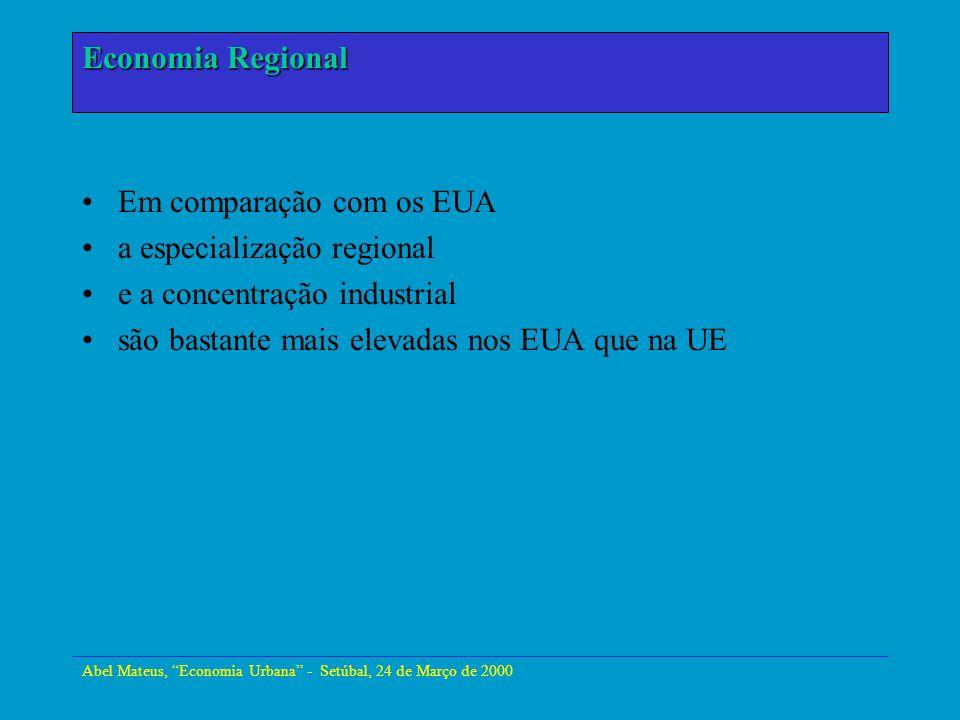 Abel Mateus, Economia Urbana - Setúbal, 24 de Março de 2000 Economia Urbana Em comparação com os EUA a especialização regional e a concentração indust