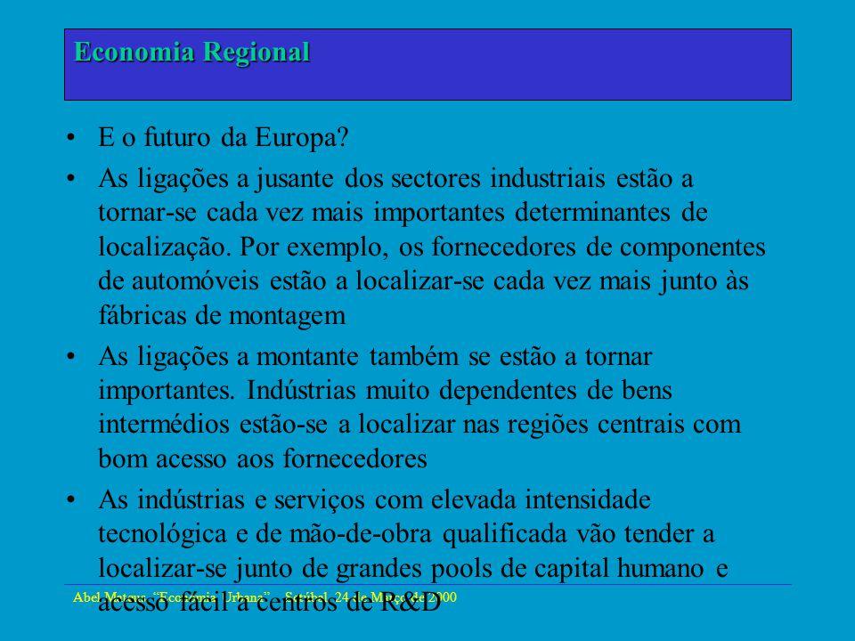 Abel Mateus, Economia Urbana - Setúbal, 24 de Março de 2000 Economia Urbana E o futuro da Europa? As ligações a jusante dos sectores industriais estão
