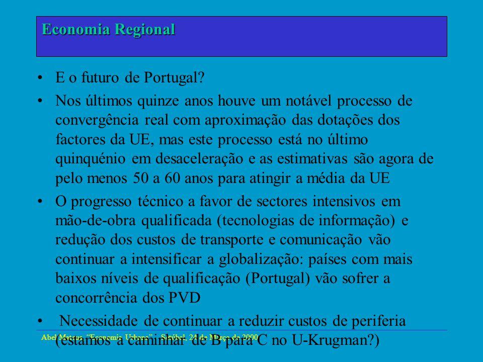 Abel Mateus, Economia Urbana - Setúbal, 24 de Março de 2000 Economia Urbana E o futuro de Portugal? Nos últimos quinze anos houve um notável processo
