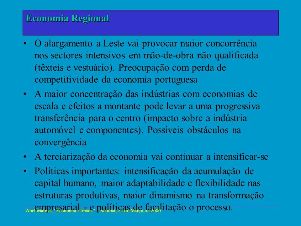 Abel Mateus, Economia Urbana - Setúbal, 24 de Março de 2000 Economia Urbana O alargamento a Leste vai provocar maior concorrência nos sectores intensi