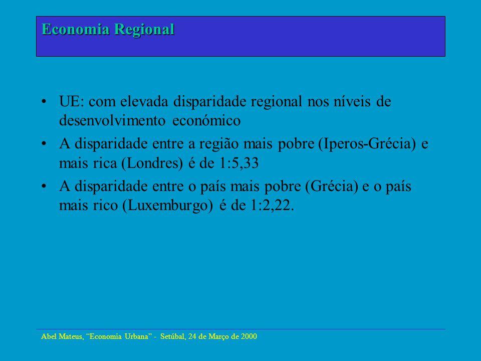 Abel Mateus, Economia Urbana - Setúbal, 24 de Março de 2000 Economia Urbana O grau de concentração espacial da indústria baixou na UE Economia Regional