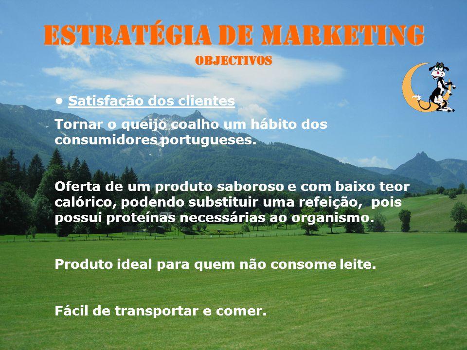 Estratégia de Marketing Objectivos Volume e quota de mercado: 90% Concorrência indirecta : outros tipos de queijos Concorrência directa: Não temos A i