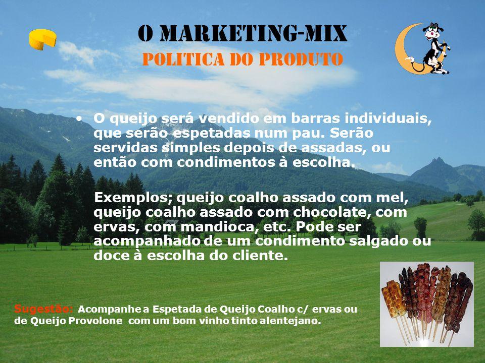 O Marketing-Mix Politica do Produto A nossa empresa aposta numa inovação e criatividade no consumo do queijo, tornando-o num produto com uma certa ori