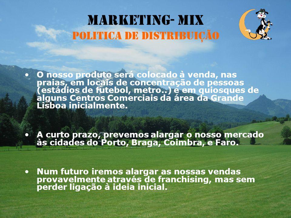Marketing-Mix Politica de promoção e comunicação A publicidade será feita através da distribuição de panfletos nas caixas de correio, e divulgação na