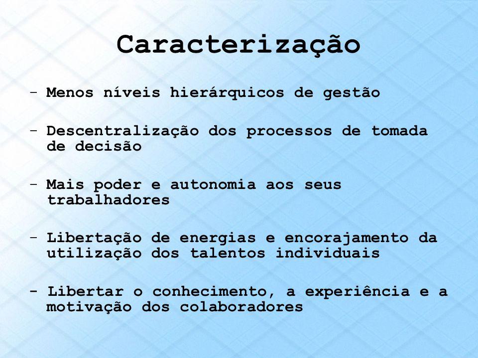 Caracterização -Menos níveis hierárquicos de gestão -Descentralização dos processos de tomada de decisão -Mais poder e autonomia aos seus trabalhadore