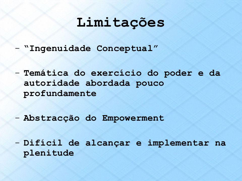 Limitações -Ingenuidade Conceptual -Temática do exercício do poder e da autoridade abordada pouco profundamente -Abstracção do Empowerment -Difícil de