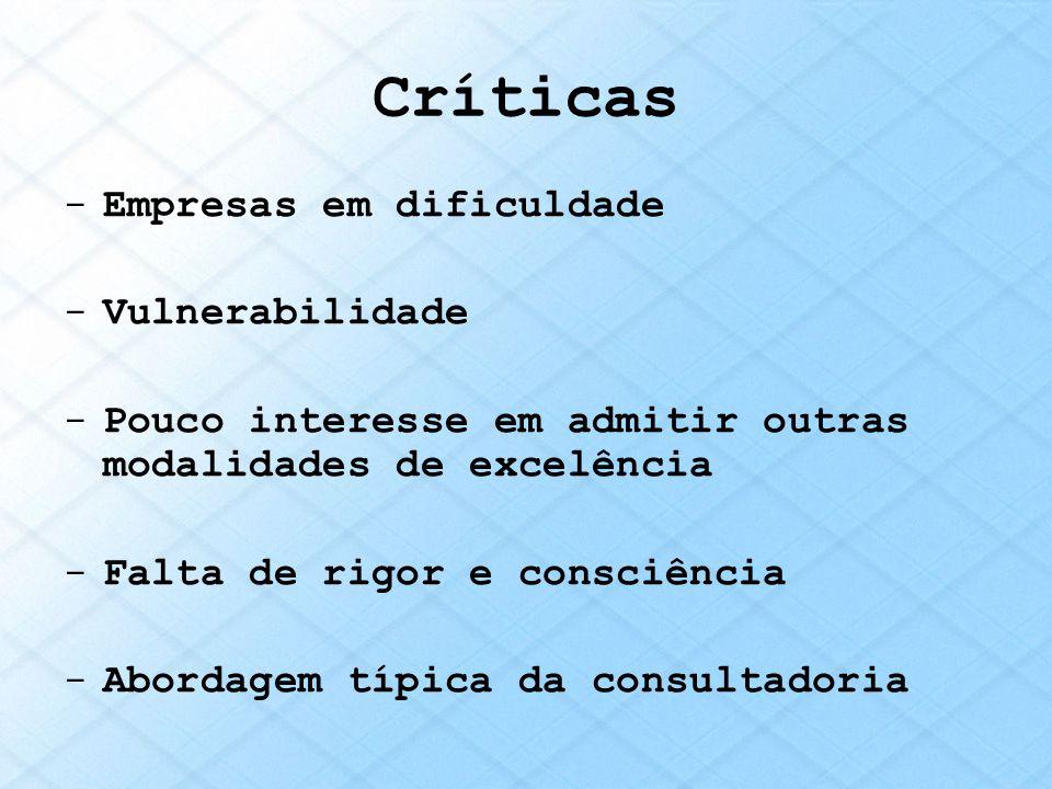 Críticas -Empresas em dificuldade -Vulnerabilidade -Pouco interesse em admitir outras modalidades de excelência -Falta de rigor e consciência -Abordag