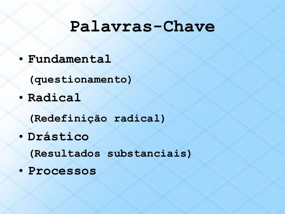 Palavras-Chave Fundamental (questionamento) Radical (Redefinição radical) Drástico (Resultados substanciais) Processos