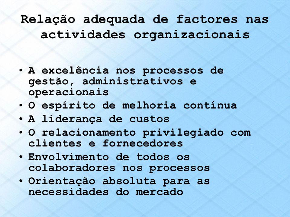 Relação adequada de factores nas actividades organizacionais A excelência nos processos de gestão, administrativos e operacionais O espírito de melhor