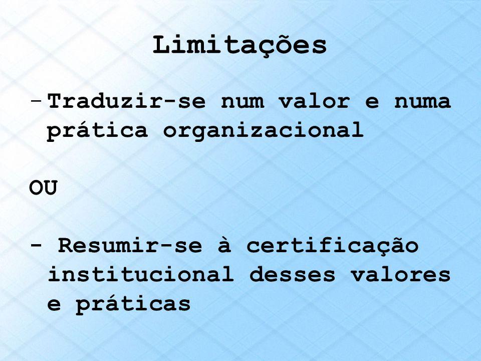 Limitações -Traduzir-se num valor e numa prática organizacional OU - Resumir-se à certificação institucional desses valores e práticas