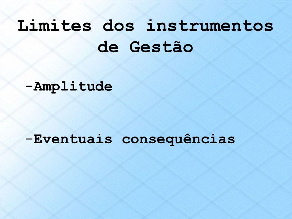 Limites dos instrumentos de Gestão -Amplitude -Eventuais consequências