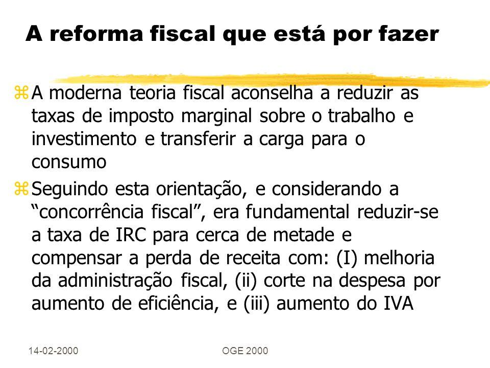 14-02-2000OGE 2000 A reforma fiscal que está por fazer zA moderna teoria fiscal aconselha a reduzir as taxas de imposto marginal sobre o trabalho e in