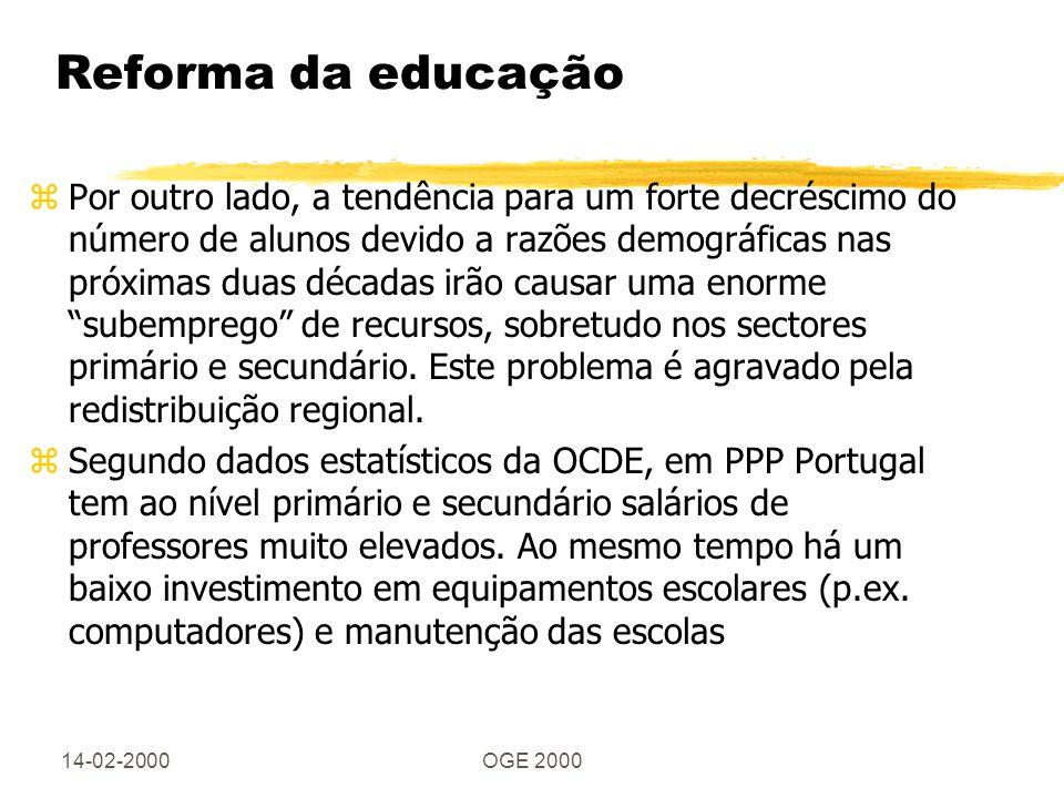 14-02-2000OGE 2000 Reforma da educação zPor outro lado, a tendência para um forte decréscimo do número de alunos devido a razões demográficas nas próx