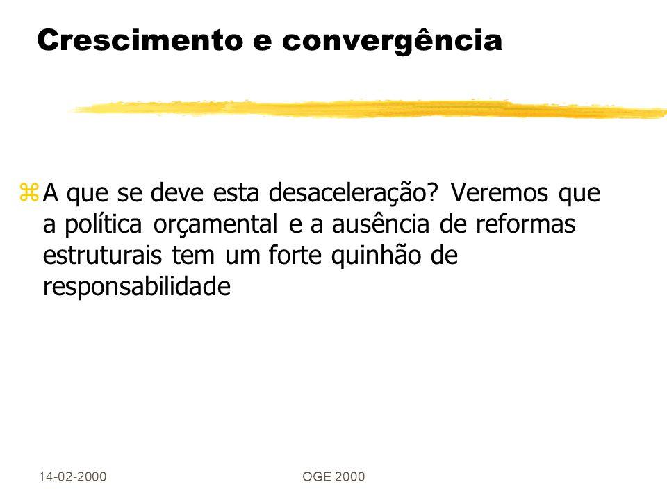 14-02-2000OGE 2000 O déficit da segurança social zO envelhecimento da população, os regimes generosos de reformas do sector público, a desaceleração no crescimento da produtividade do trabalho e a fuga às contribuições estão na origem do elevado déficit futuro da SS zProblema geral da Europa, que só a Itália, RU e um pouco a Alemanha tentaram recentemente resolver zA reforma da SS em Portugal está em grande parte por fazer, pois as bases da reforma não resolvem o problema do déficit - onde estão o aumento das contribuições ou a redução de benefícios?