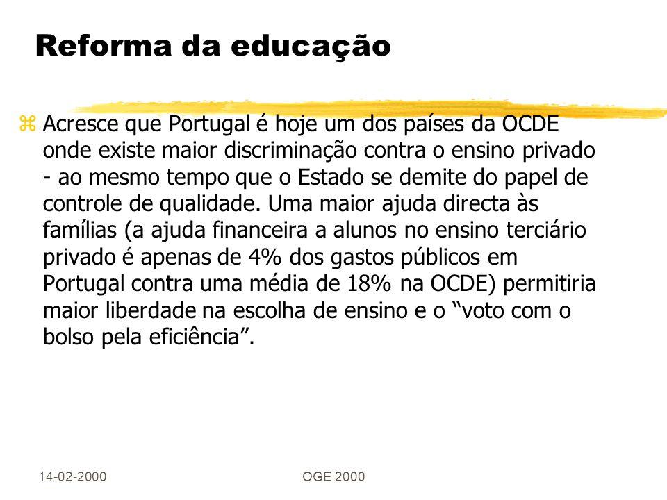 14-02-2000OGE 2000 Reforma da educação zAcresce que Portugal é hoje um dos países da OCDE onde existe maior discriminação contra o ensino privado - ao