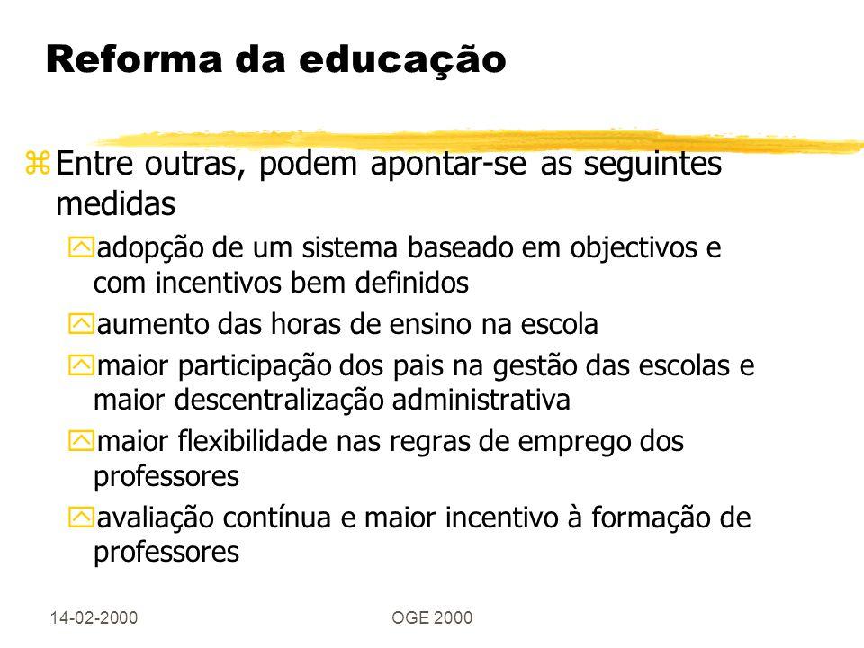 14-02-2000OGE 2000 Reforma da educação zEntre outras, podem apontar-se as seguintes medidas yadopção de um sistema baseado em objectivos e com incenti