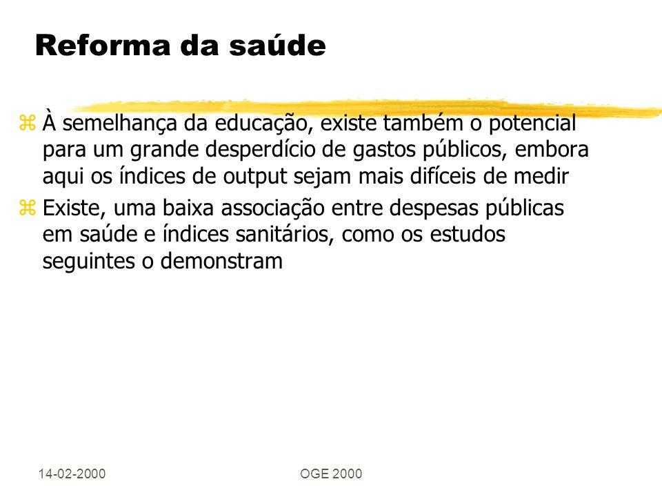 14-02-2000OGE 2000 Reforma da saúde zÀ semelhança da educação, existe também o potencial para um grande desperdício de gastos públicos, embora aqui os