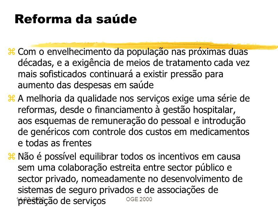 14-02-2000OGE 2000 Reforma da saúde zCom o envelhecimento da população nas próximas duas décadas, e a exigência de meios de tratamento cada vez mais s