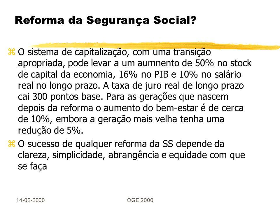 14-02-2000OGE 2000 Reforma da Segurança Social? zO sistema de capitalização, com uma transição apropriada, pode levar a um aumnento de 50% no stock de