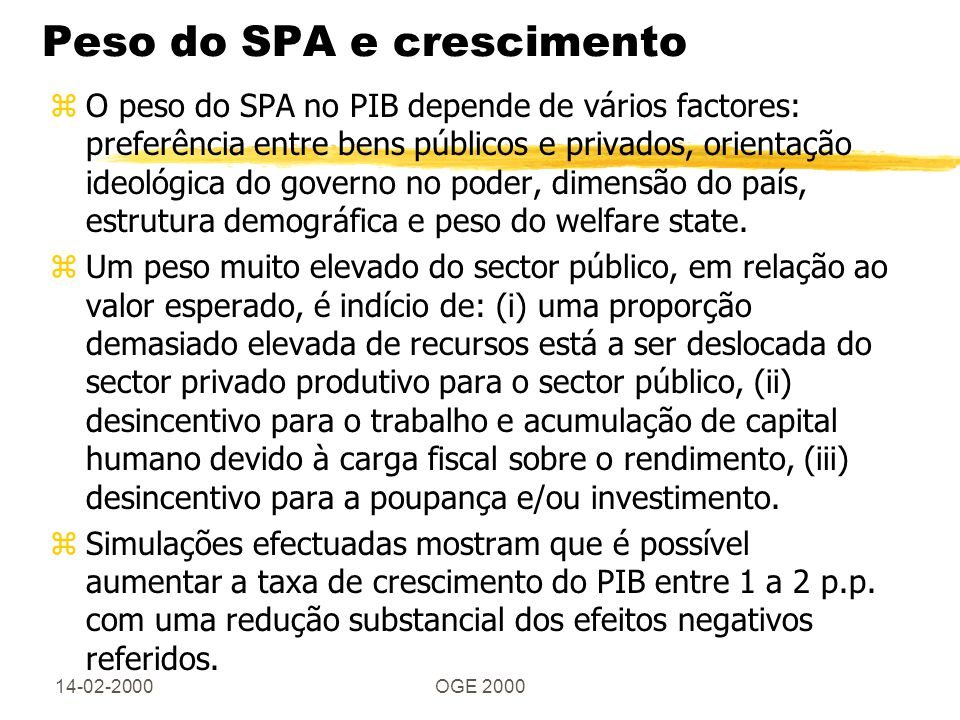 14-02-2000OGE 2000 Peso do SPA e crescimento zO peso do SPA no PIB depende de vários factores: preferência entre bens públicos e privados, orientação