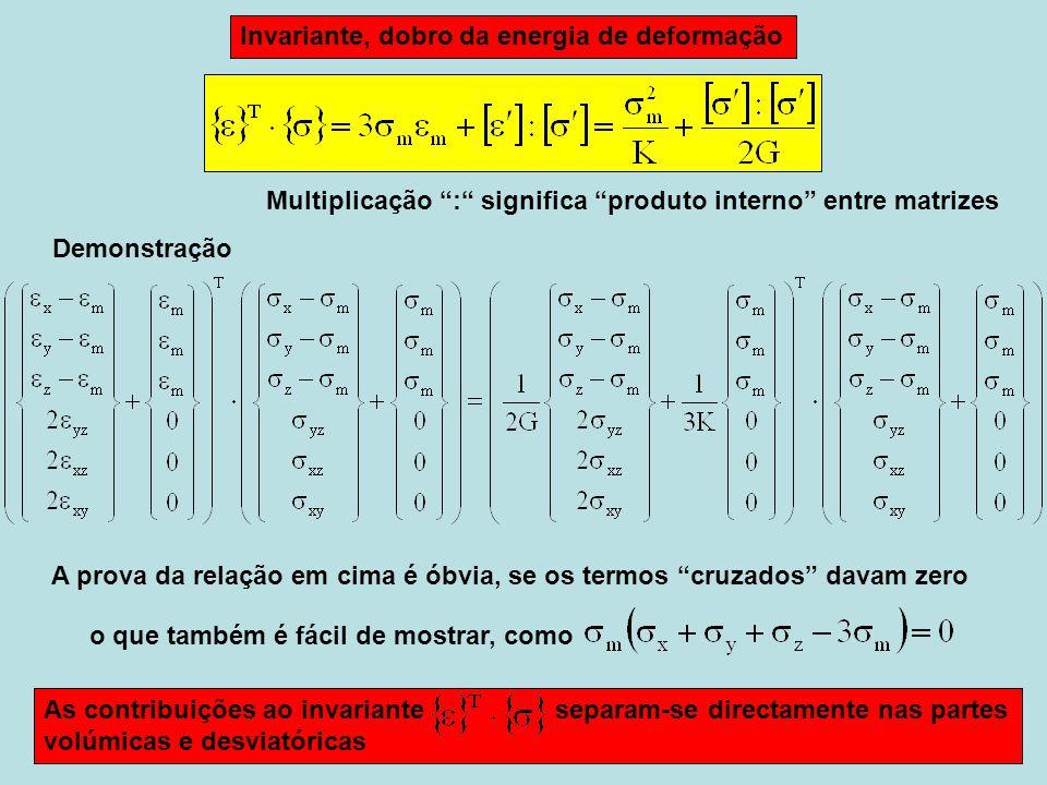 Invariante, dobro da energia de deformação Multiplicação : significa produto interno entre matrizes A prova da relação em cima é óbvia, se os termos cruzados davam zero o que também é fácil de mostrar, como As contribuições ao invariante separam-se directamente nas partes volúmicas e desviatóricas Demonstração