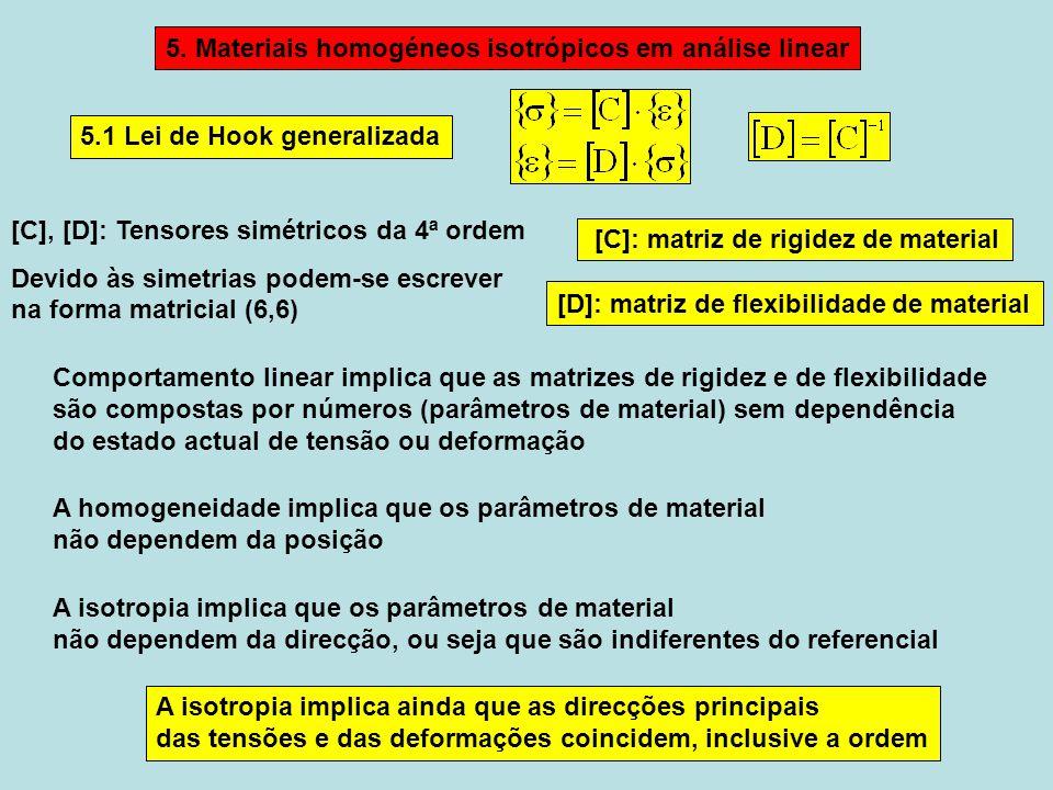 A isotropia implica ainda que as direcções principais das tensões e das deformações coincidem, inclusive a ordem 5.1 Lei de Hook generalizada Comportamento linear implica que as matrizes de rigidez e de flexibilidade são compostas por números (parâmetros de material) sem dependência do estado actual de tensão ou deformação [C]: matriz de rigidez de material [D]: matriz de flexibilidade de material [C], [D]: Tensores simétricos da 4ª ordem Devido às simetrias podem-se escrever na forma matricial (6,6) 5.