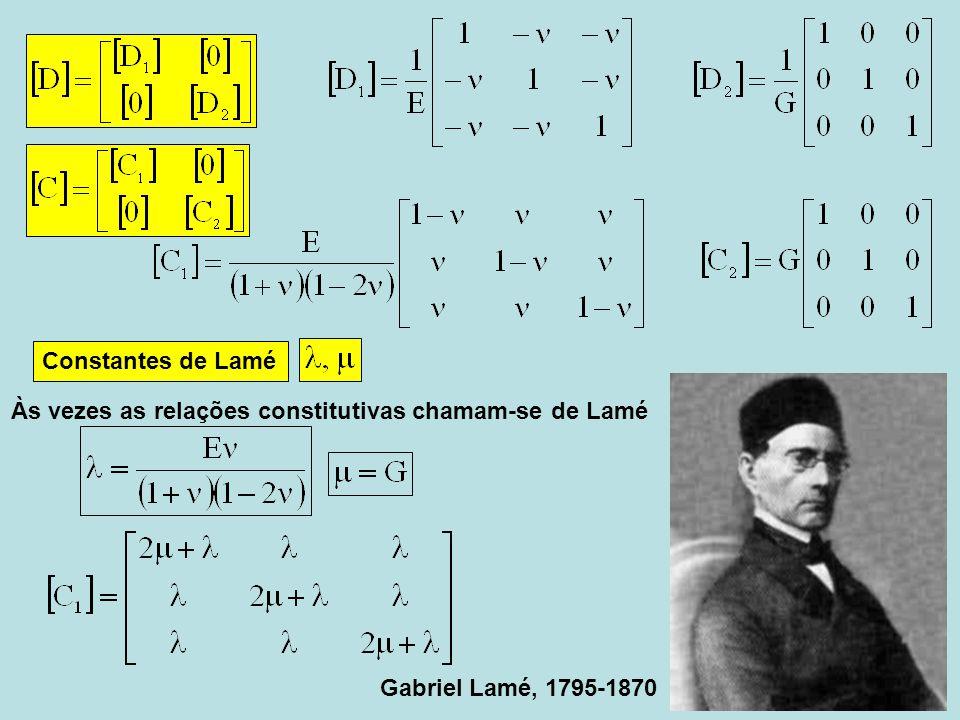 Constantes de Lamé Gabriel Lamé, 1795-1870 Às vezes as relações constitutivas chamam-se de Lamé