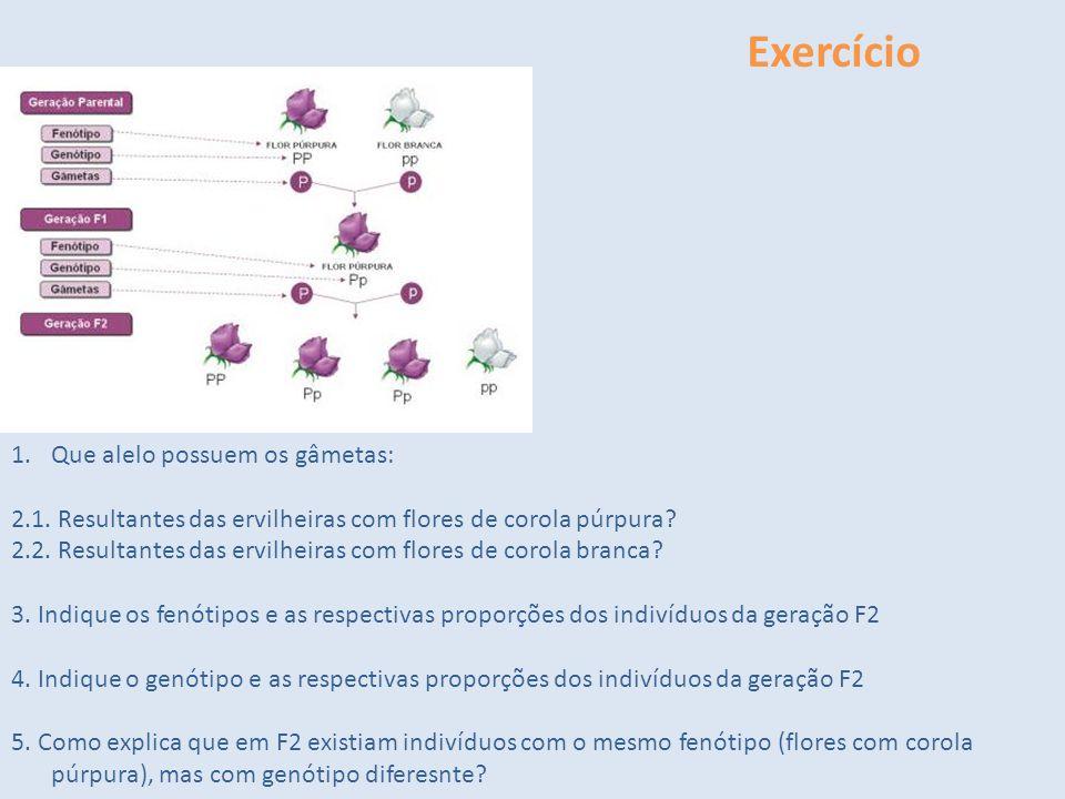 Exercício 1.Indique o genótipo da geração parental. 1.Que alelo possuem os gâmetas: 2.1. Resultantes das ervilheiras com flores de corola púrpura? 2.2