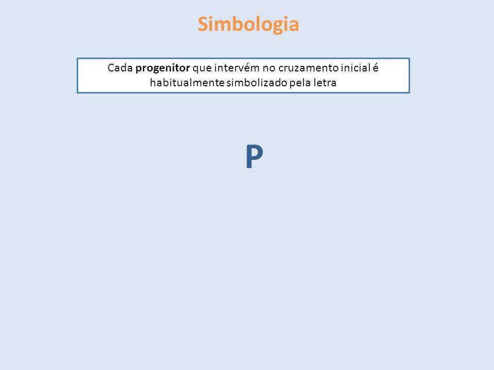 Simbologia Cada progenitor que intervém no cruzamento inicial é habitualmente simbolizado pela letra P