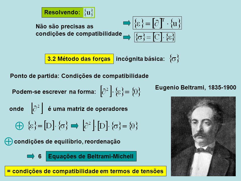 John-Henry Michell (1863 - 1940) + condições de fronteira em termos de tensão Resolvendo: pela integração Exemplo da primeira equação do primeiro bloco de 3 Exemplo da primeira equação do segundo bloco de 3 (difícil exprimir desta maneira as condições geométricas) do campo de deformação que é já compatível