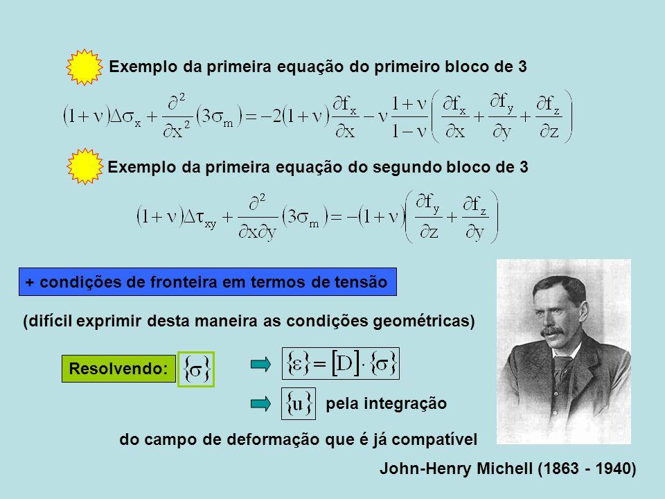 John-Henry Michell (1863 - 1940) + condições de fronteira em termos de tensão Resolvendo: pela integração Exemplo da primeira equação do primeiro bloc